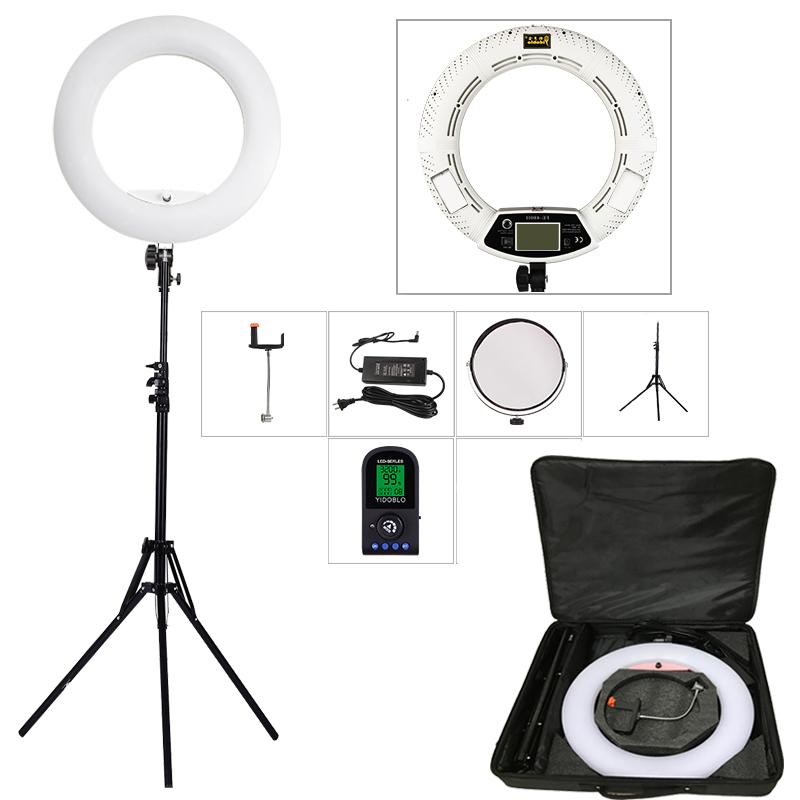 Prix pour Yidoblo blanc FE-480II 5600 K Dimmable Caméra Anneau Lumière 480 LED Vidéo Lumière Lampe LCD RC Éclairage Photographique + 2 M stand + sac à main