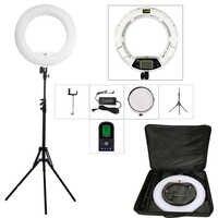 Yidoblo blanco FE-480II 5500 K regulable Cámara foto/estudio/teléfono/vídeo 18 96 W 480 LED luz LED de anillo + trípode de 200 cm + Kit de bolsa