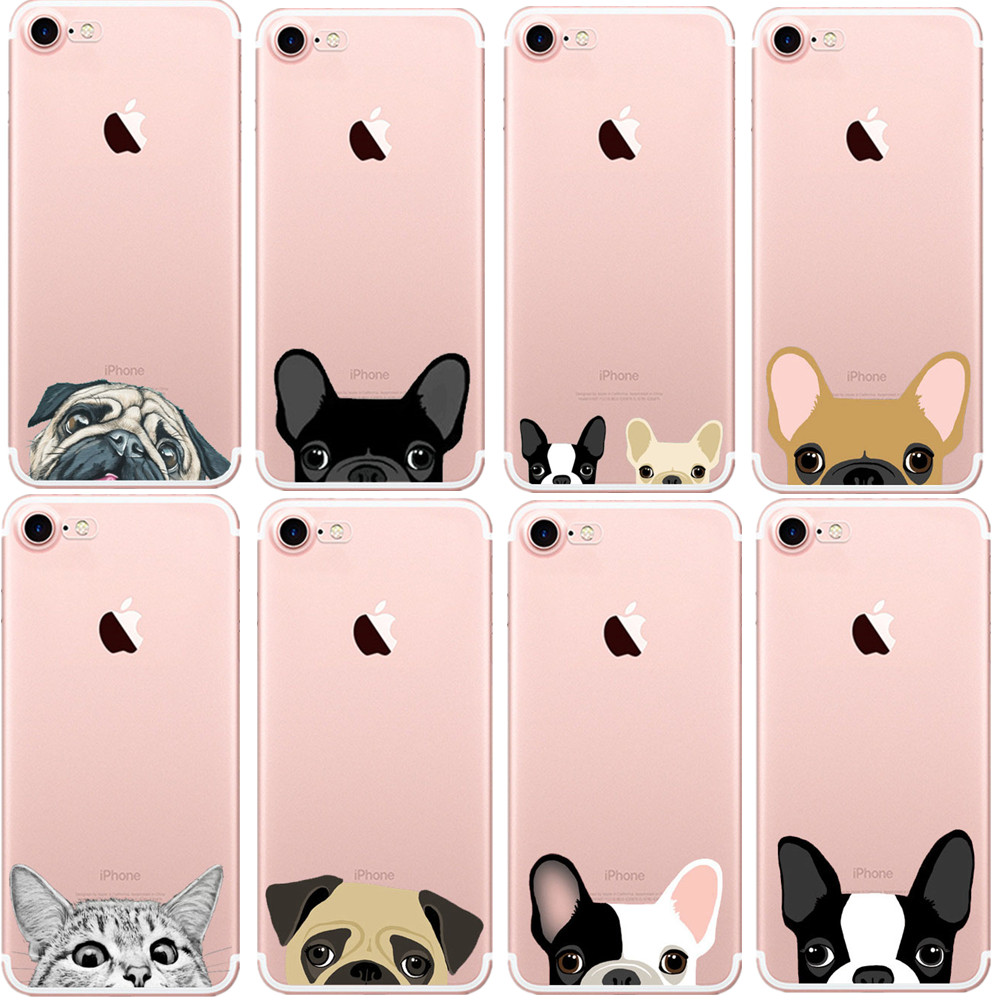 detailed look 44f85 212e3 US $2.03 40% OFF|Cute Cartoon Animal Cat Dog BULLDOG Crystal Clear Soft TPU  Phone Case For iPhone 7 7Plus 6 6s Plus 5 5S SE 8 8Plus X 10 Cover-in ...