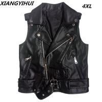 Top quality Leather Vest Women 2018 New PU Zipper Vest Female Plus Size Spring and Autumn Jackets Fashion Short slim Vest Coat