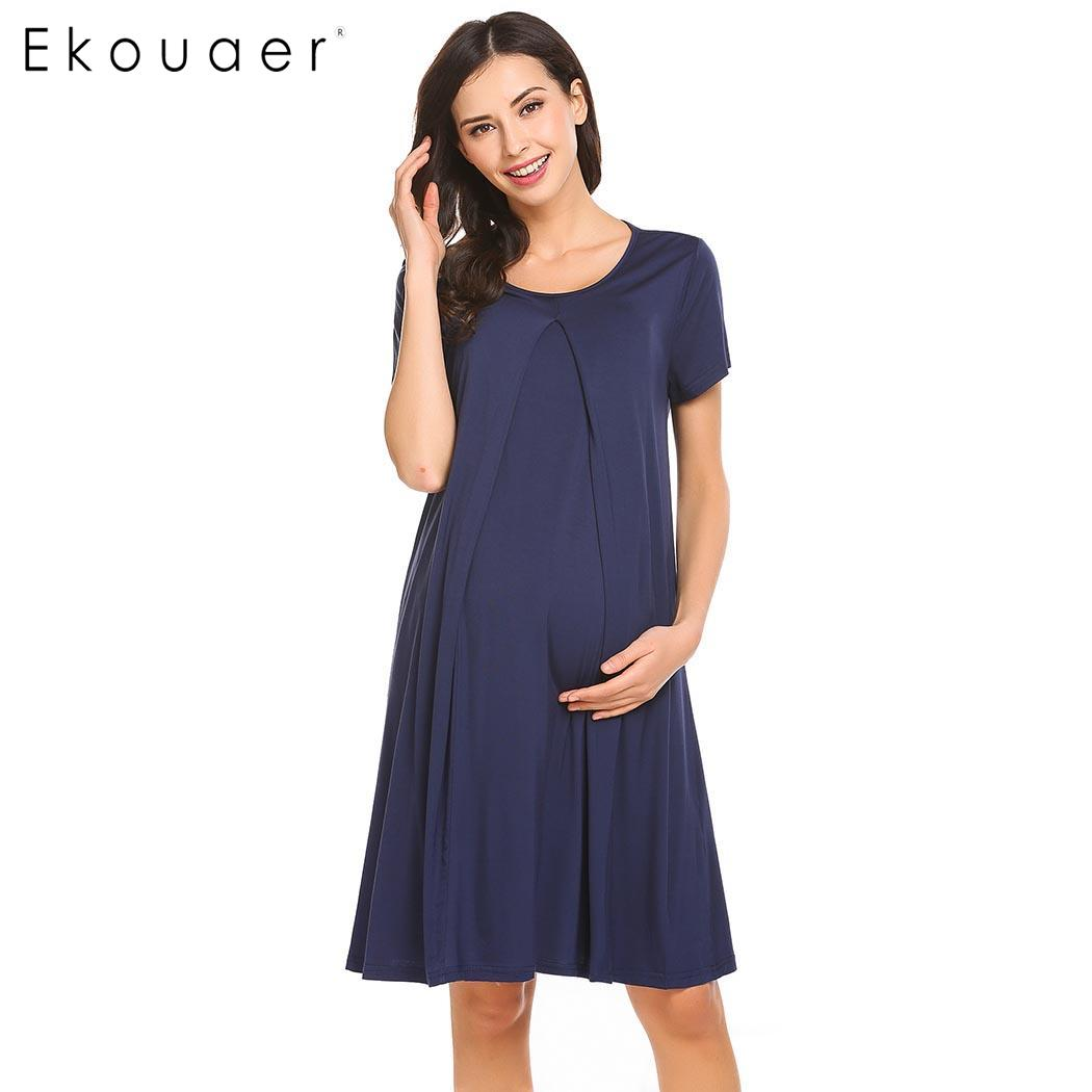 Ekouaer Nursing O-Neck Short Sleeve Solid Maternity Breastfeeding   Nightgown     Sleepshirt
