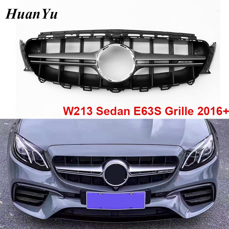 W213 W238 E63S Style Front Bumper Grille for Mercedes-benz E Class Sport Edition E250 E300 E350 E400 Grills 2016+ with Camera image