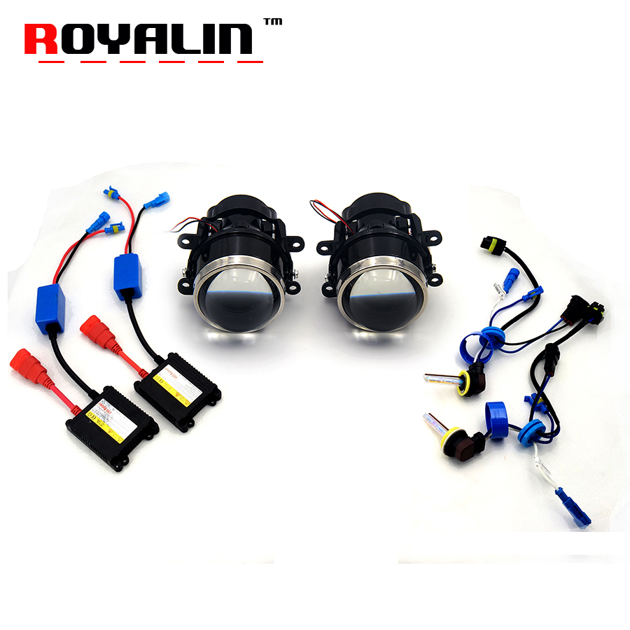 ROYALIN Car H11 Fog Lights Lens Kit Bi-xenon Projector Lamp Ignition for Ford Mitsubishi Pajero Subaru Citroen Renault Nissan