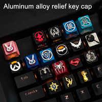 1pc Zinc Aluminium Alloy Key Cap Mechanical Keyboard keycap for CSGO Overwatch Dota 2 PUBG WOW LOL R4 Height Stereoscopic relief