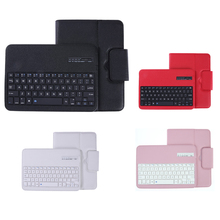 Stylish Detachable Tablet Keyboard Wireless Bluetooth Keyboard with Leather Case Holder Stand for Samsung Galaxy Tab S3 T820