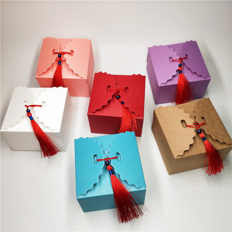 12pcs Little Rectangle Paper Candy Boxes +Red Tassel,For Baby Shower Gift Box Birthday Wedding Party Favor Box 6.5x6.5x4.5cm