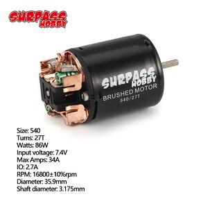 Image 2 - 540 27 t 브러시 모터 3.175mm 샤프트 1/10 rc 오프로드 레이싱 자동차 차량 부품 액세서리