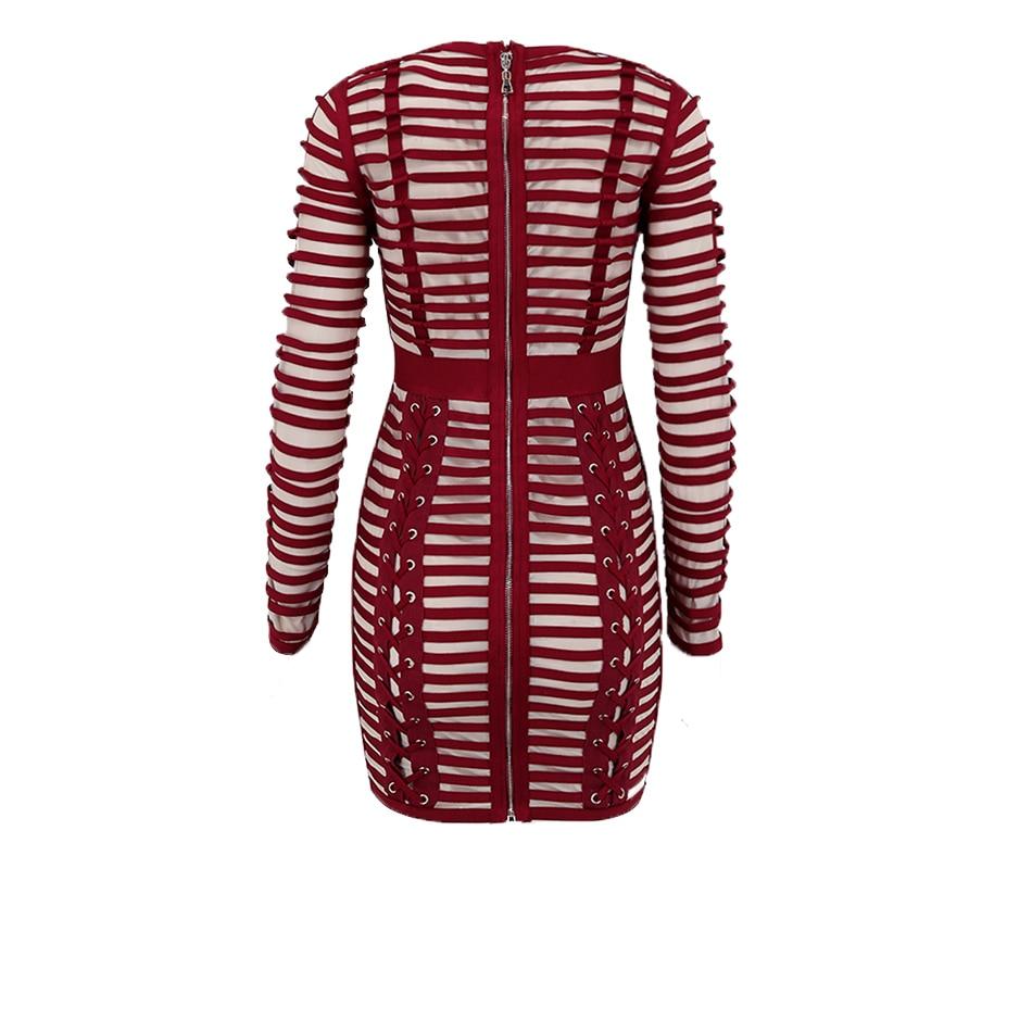 Di alta Qualità Lace Up Borgogna Manica Lunga Skinny Vestito Da Partito Elegante per Le Donne Rotonde del Collo Della Maglia Robe Femme Abiti - 3