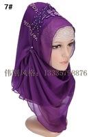 Fashion design hoge kwaliteit chiffon borduren Turkse hijab istamic stijl hoofddoek moslim hijab voor vrouwen 10 kleuren
