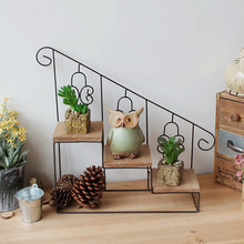 New coffee bar shop shop display decorative flower stand balcony floor flowerpot rack interior green wrought iron flower stand
