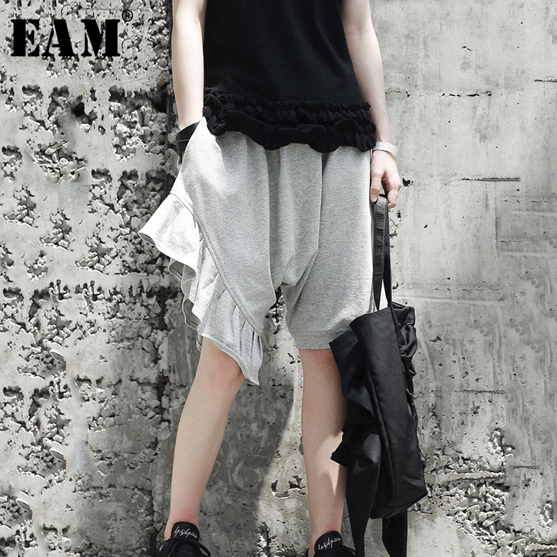 [EAM] 2020 New Spring High Elastic Waist Black Ruffles Split Joint Loose Wide Leg Pants Women Trousers Fashion Tide JG333