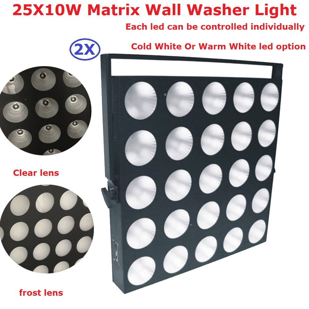 2 Pack 25X10W Warm White/Cold White Led Matrix Lights High Power 300W Professional Audience Lights Stage Background Decorations