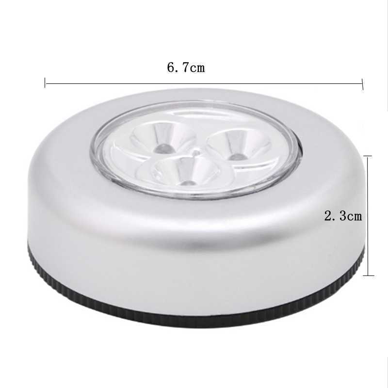 3 LED armario bajo gabinete iluminación batería inalámbrico lámpara de pared Stick Tap Touch Push seguridad cocina dormitorio luz de noche