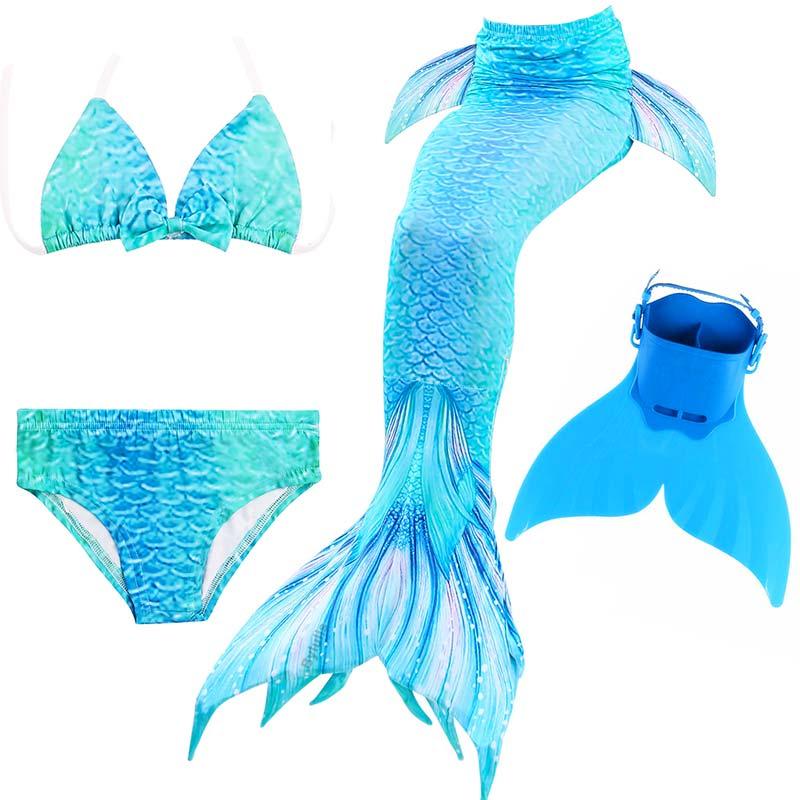 New Girls Kids Swimmable Mermaid Tail Swimsuit Swimming Costume Bikini monofin