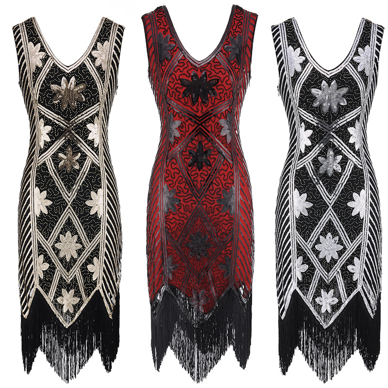 Women's Style Shining Flapper Dress 1920s Vintage Gatsby Great Gatsby Charleston Sequin Tassel Evening Party Gold Mesh Sequins