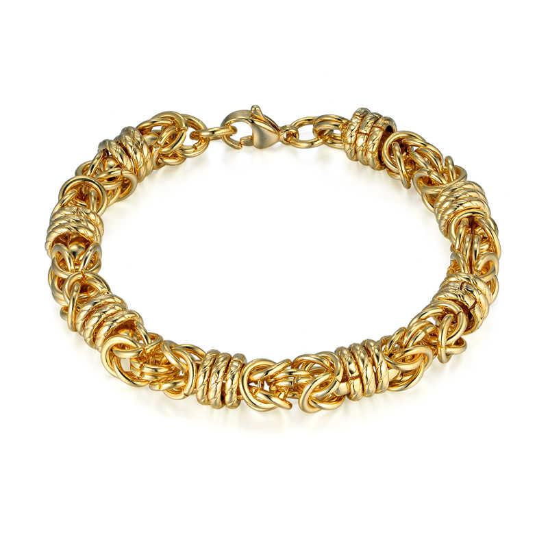 Gruby jest złoty łańcuch Link bransoletka hurtownie bransoletka drop ship złoty kolor bizantyjski Box łańcuch ze stali nierdzewnej bransoletki Pulseiras