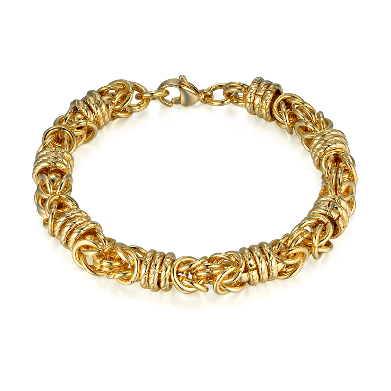 Thicks Gold Chain Link Bracelet Wholesale Braslet 2017 Gold Color Stainless Steel Byzantine Box Chain Bracelets Pulseiras
