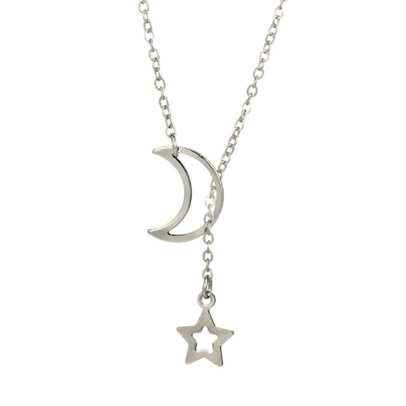 Moon Star Pendant Necklace Choker Necklace Gold Silver Long Chain FG