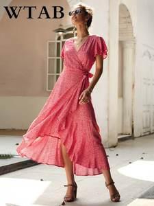 WTAB Female Dresses Robe Ruffles Femme Casual Women V-Neck Long Print Summer Vestidos