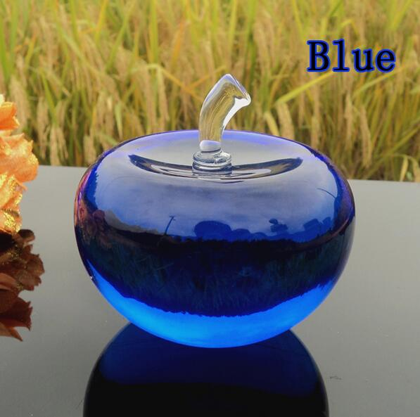 100mm Blue Glossy Crystal Apple Paperweight Glass Paperweight Fruit Crafts Gifts Art&Collection Souvenir Home Wedding Decoration