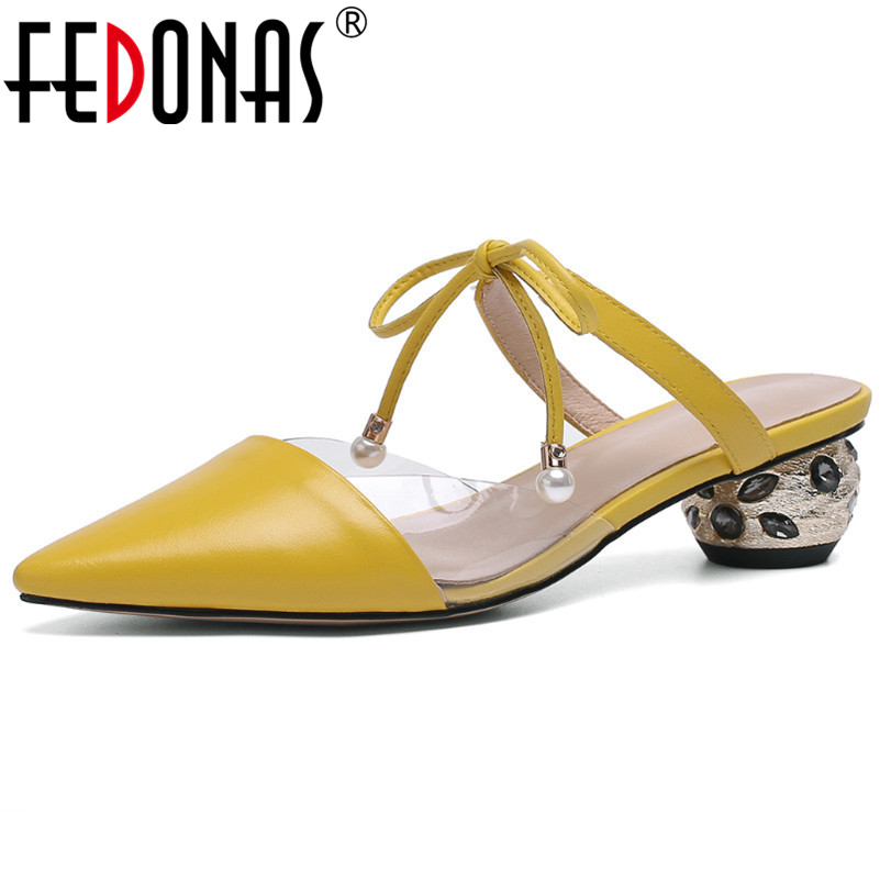FEDONAS fashion Sexy Genuine Leather Pumps Prom Party Summer Shoes Woman Pionted Toe Round Heeled Lace