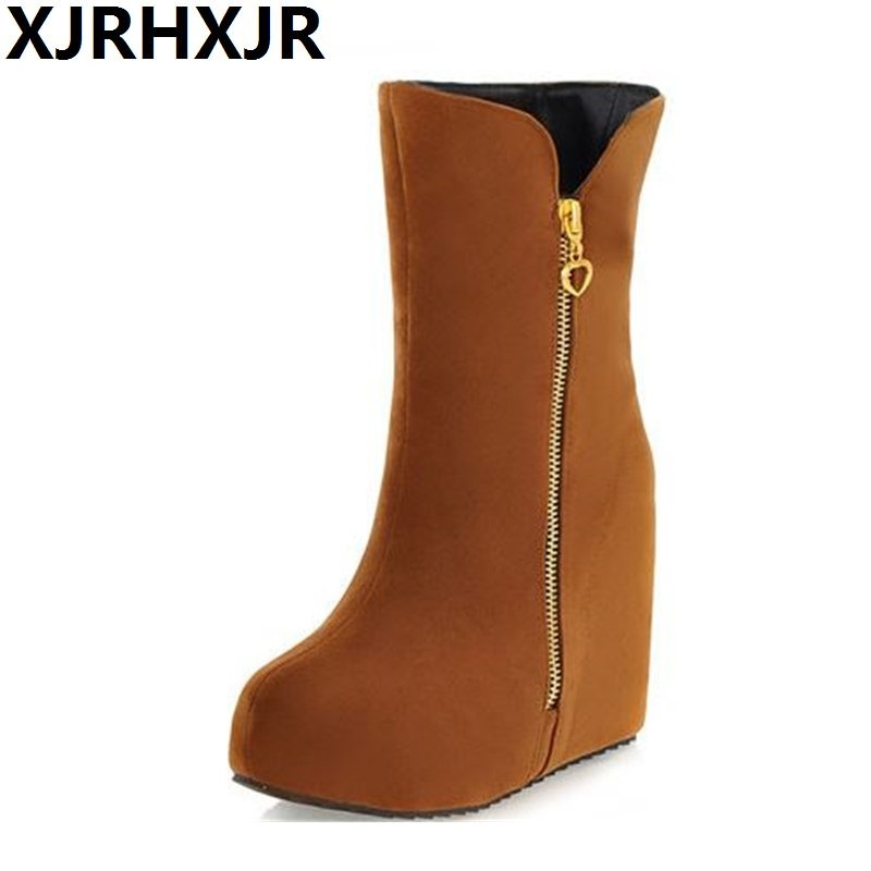New Arrival Autumn Winter Women s Platform Boots Casual Wedges Shoes Ladies Nude Boots Winter Women