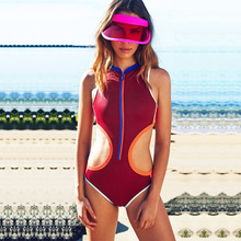 Фотография 2018 Zipper High Neck Round Collar Sporty One Piece Monokini Swimsuit Sexy Racerback Sexy Hipster Slim Waist Brazilian Bodysuit