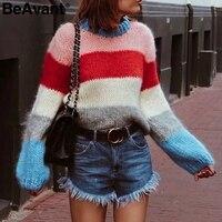 BeAvant Knitting rainbow sweater women pullover O neck long sleeve striped sweater jumper Casual loose pull femme winter sweater