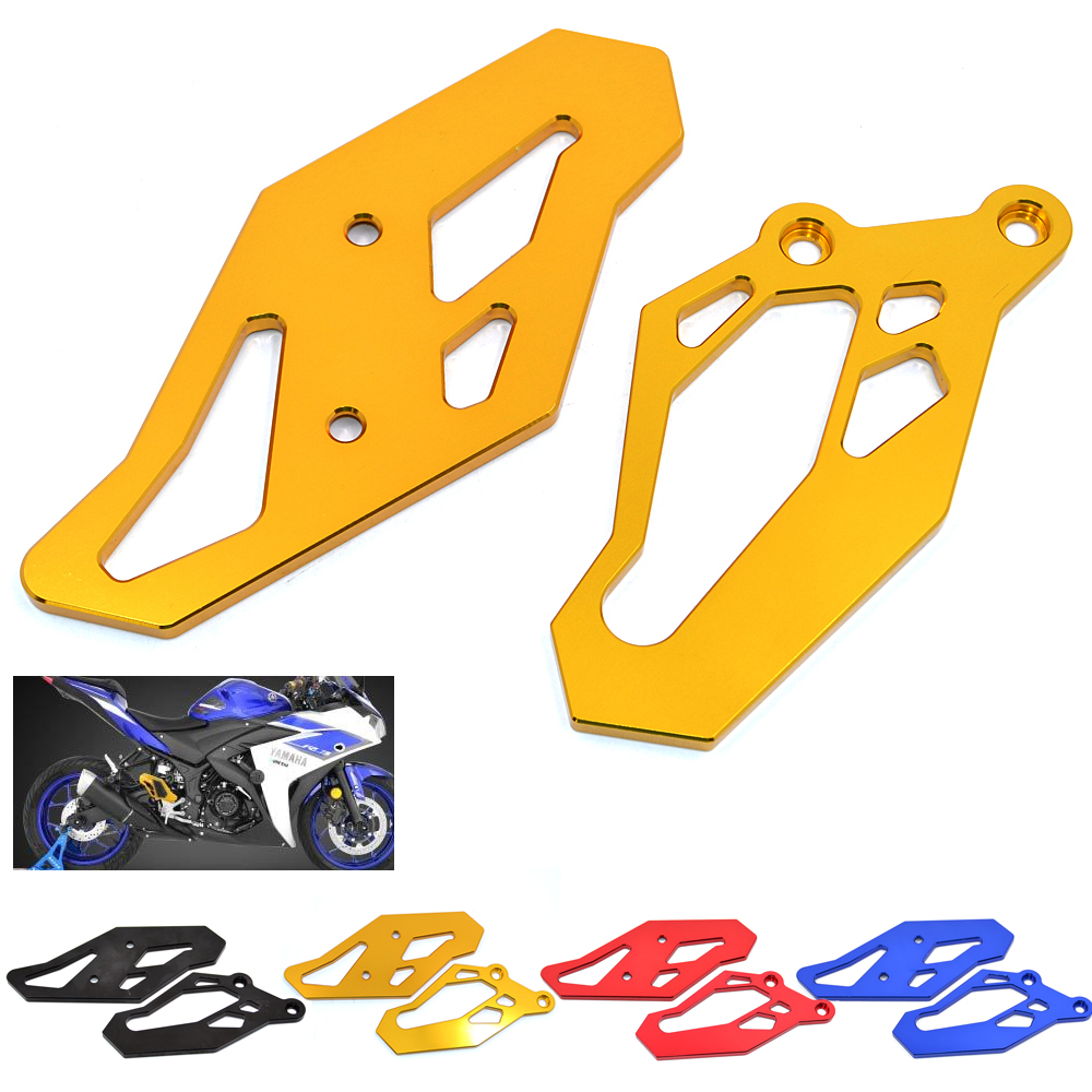 RP-YA001-GO New Motorcycle CNC Aluminum Footrest Rearset Plate Guard For Yamaha YZF R25 13-17 YZF R3 15-17 YZF-R3 ABS 2017 MT03 for yamaha yzf r25 r3 yzf r3 yzf r25 motorcycle accessories cnc aluminum chain guard protector cover silver
