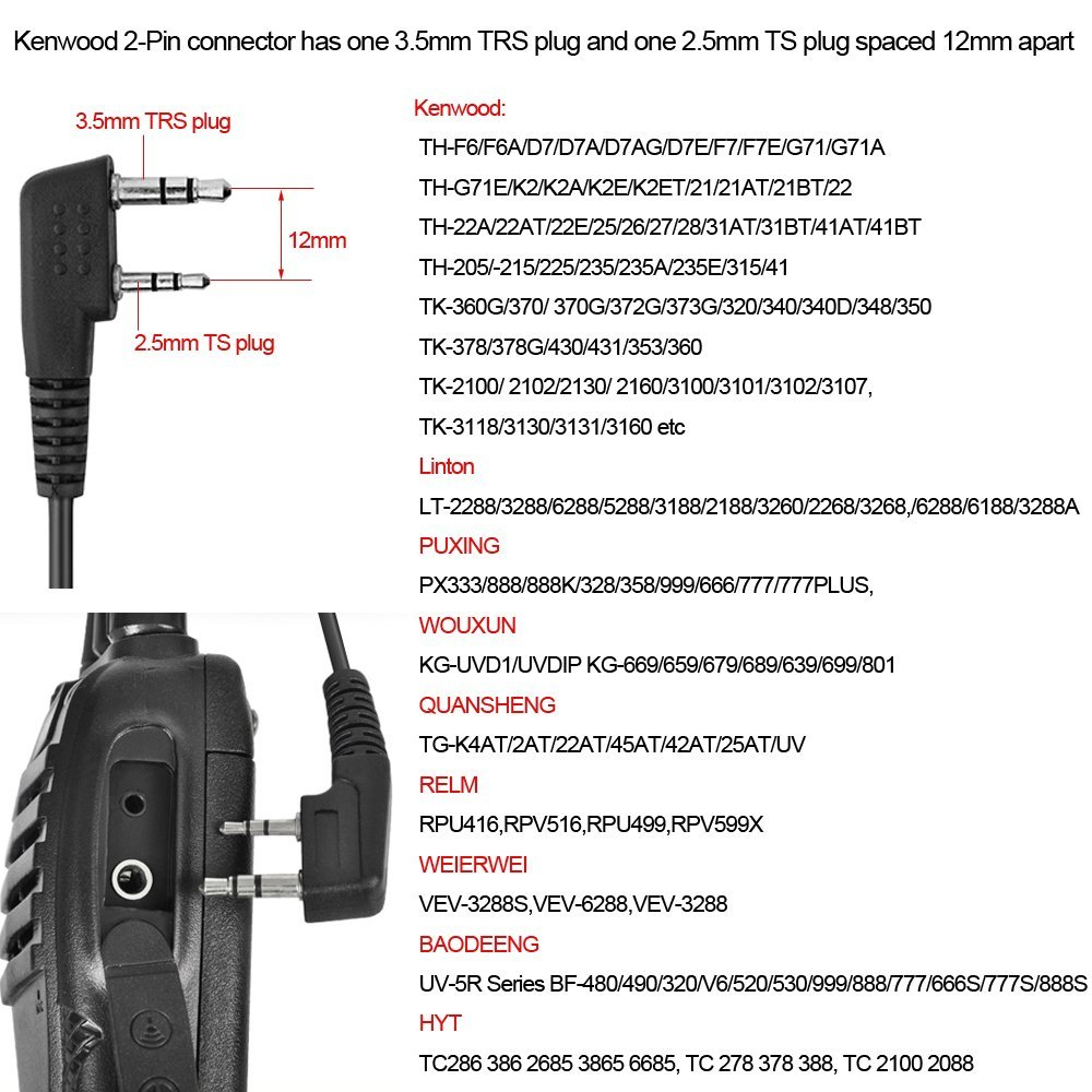 2-Pin Covert Acoustic Tube Walkie Talkie Headset Earpiece Microphone for Kendwood Baofeng AR-F8 TYT Wouxun Portable CB Radio