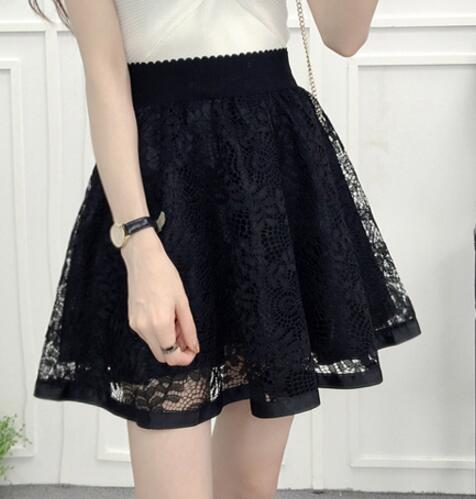Spring Summer Women Skirt Sexy Lace Mesh Hollow Out Slim Bodycon Tight A-line Elegant Transparent Black White Skirt