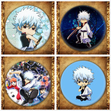 Japanese Anime Gintama Display Badge Fashion Cartoon Figure Sakata Gintoki Kagura Brooches Pin Jewelry Accessories Gift