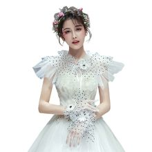 Women Bridal Ruffled Wedding Lace Shawl Polka Dot Mesh Lace Up Shrug Wrap Faux Pearl Flower Bolero Cape With Full Finger Gloves