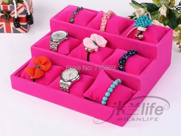 Бесплатная доставка 1 шт розовый цвет дерево + бархат ювелирных изделий витрина 12 сетки подушки часы браслет