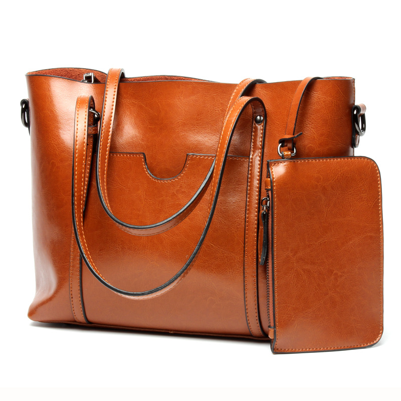 Women Casual Tote Genuine Leather Handbag Bag Fashion Vintage Large Shopping Bag Designer Crossbody Bags Big Shoulder Bag Female