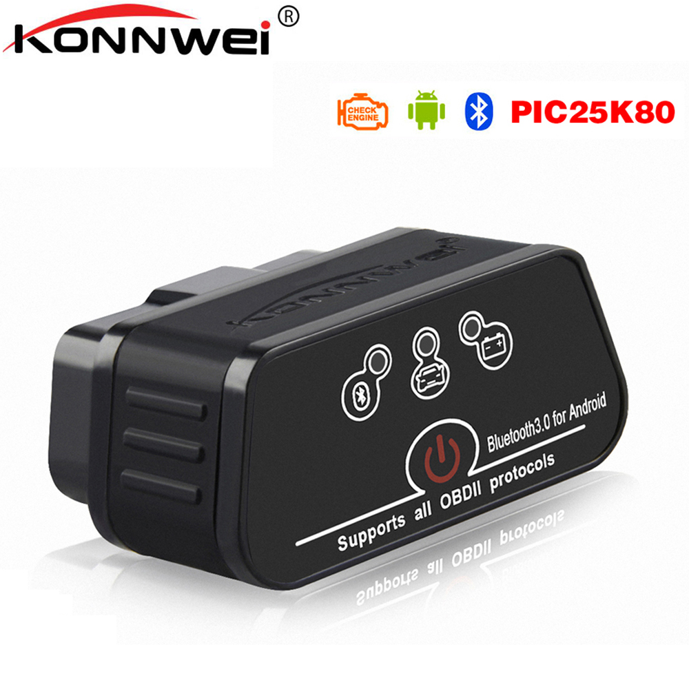 V1.5 ELM327 Obd2 Bluetooth Auto Scanner adaptateur EML 327 v 1.5 avec Pic18f25k80 puce pour Android OBD voiture diagnostic Auto outil