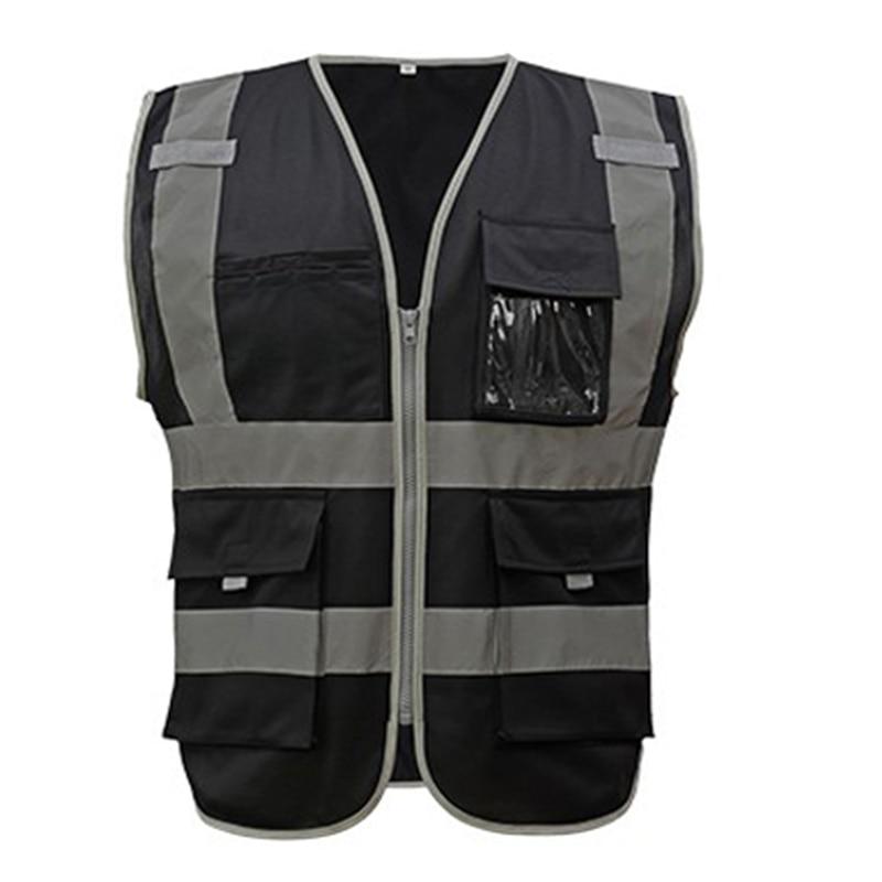 SFvest Hi Vis Waistcoat Safety Vests Multi Pockets Fluorescent Yellow Orange Multi Color Options Silk Screen Logo Printing