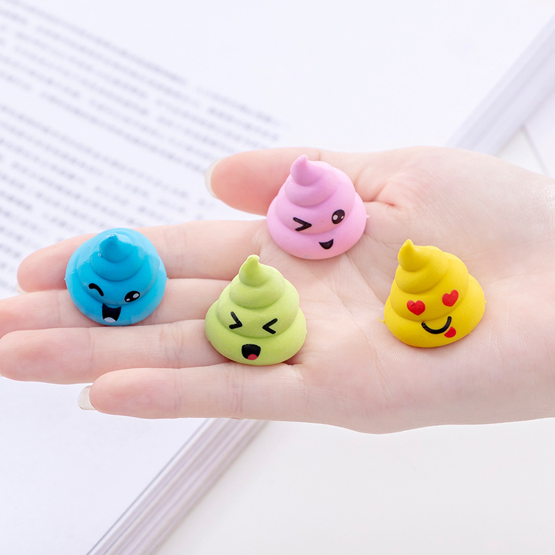 48 Pc/lot Lovely Cartoon Lifelike Poop Model  Rubber Eraser/ Stationery For Children Students/nice Gift Eraser