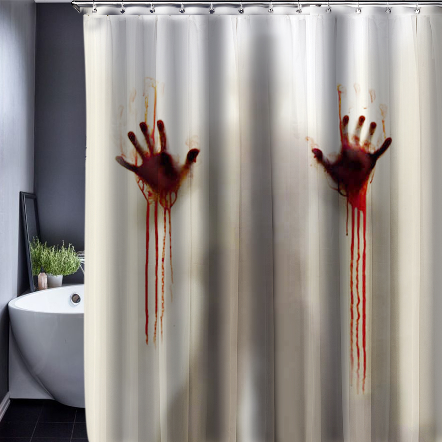 Shower Curtain Polyester Bloody hands Skull Tattoo Fabric ...