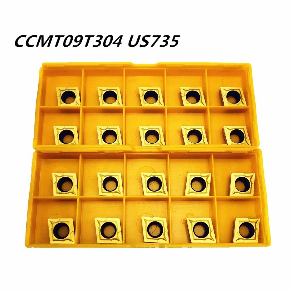 20PCS Carbide Insert CCMT09T304 CCMT32.51 US735 Metal Turning Tool Tools Lathe Tool CCMT 09T304 Face Milling Cutter CNC Tool