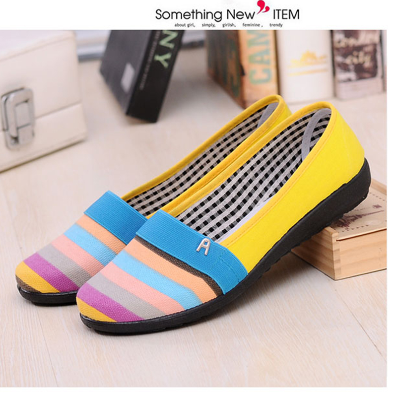 903c8d69e38 Ladies Casual Flat Shoes Old Peking Breathable Non Slip Work Shoes  Comfortable Women Loafers Student Rainbow Stripes Cloth Shoes-in Women s  Flats from Shoes ...