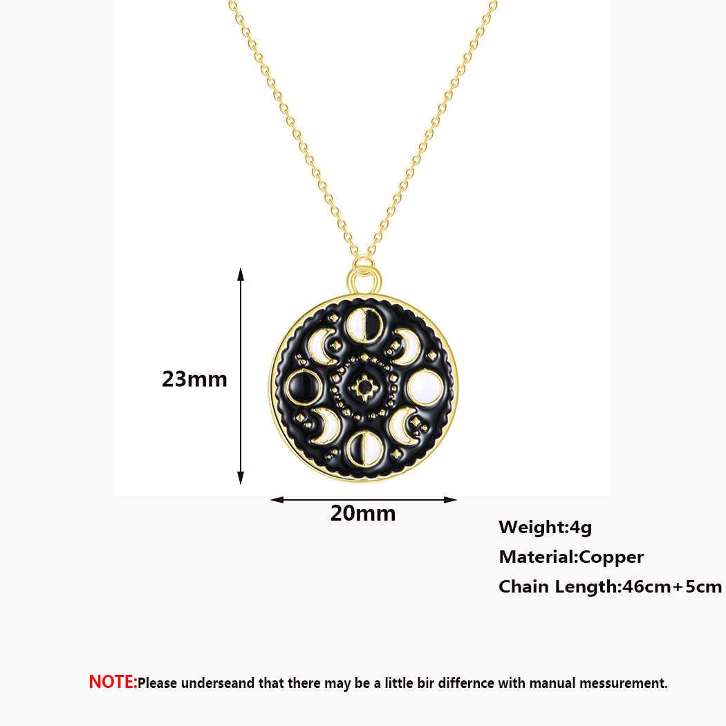 Cykl księżycowy księżyc faza wisiorek naszyjnik okrągły Galaxy naszyjnik dla kobiet mężczyzn biżuteria ze stali nierdzewnej czarny naszyjnik