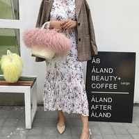 Brand Women Straw weaving Fur Bags Famous Women Clutches Ladies Evening Clutch Purse Fashion Ostrich Feather Hand Bag Luxurious