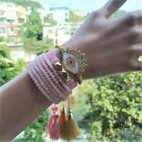 Go2boho MIYUKI Pulsera mujer turco mal de ojo joyería Rosa cristal Pulsera pulseras Bileklik regalo hecho a mano oro remache Bijoux