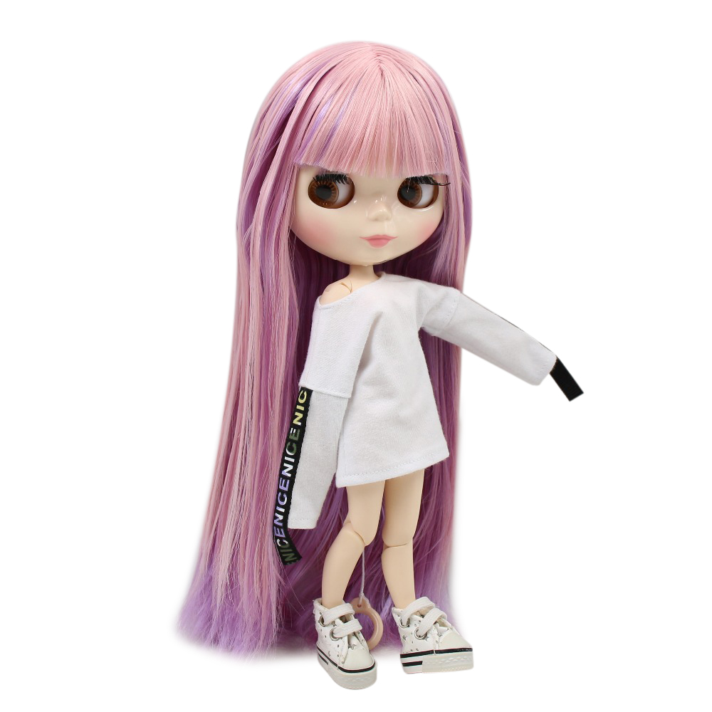 Factory blyth doll joint body white skin BL6122 2137 Pink and Purple hair with bangs 30cm