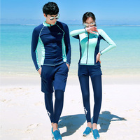 Sbart 4/3 Pieces Set Rash Guards Women Men Swimsuits Long Sleeves Surfing Swimming Sailing Outfits Swimwear 2018 CO
