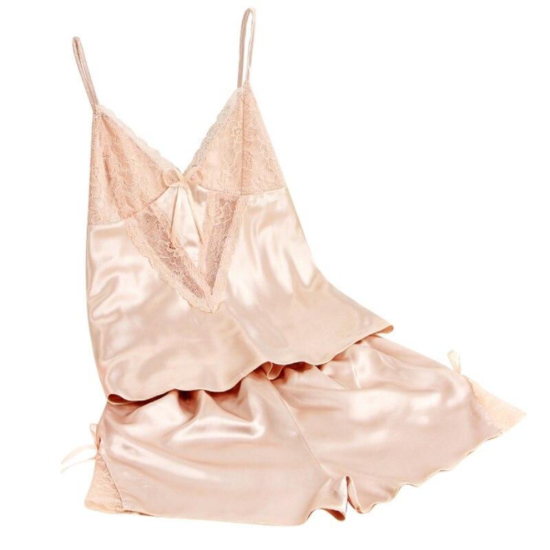 Women Sexy Summer Pajamas Silk Pijamas Pyjama Minion Pajamas Sleepwear Deep V Sleeveless Suspenders Lingerie Set
