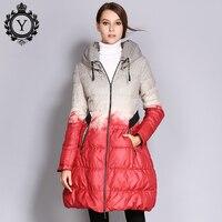 Coutudi caliente Abrigos de plumas de invierno más tamaño impreso chaqueta globo largo mujer parka y Abrigos alta calidad Outwear