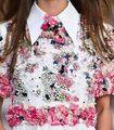 Arlene Sain 2017 Primavera Apliques de Flores e grama de luxo Camisa 03