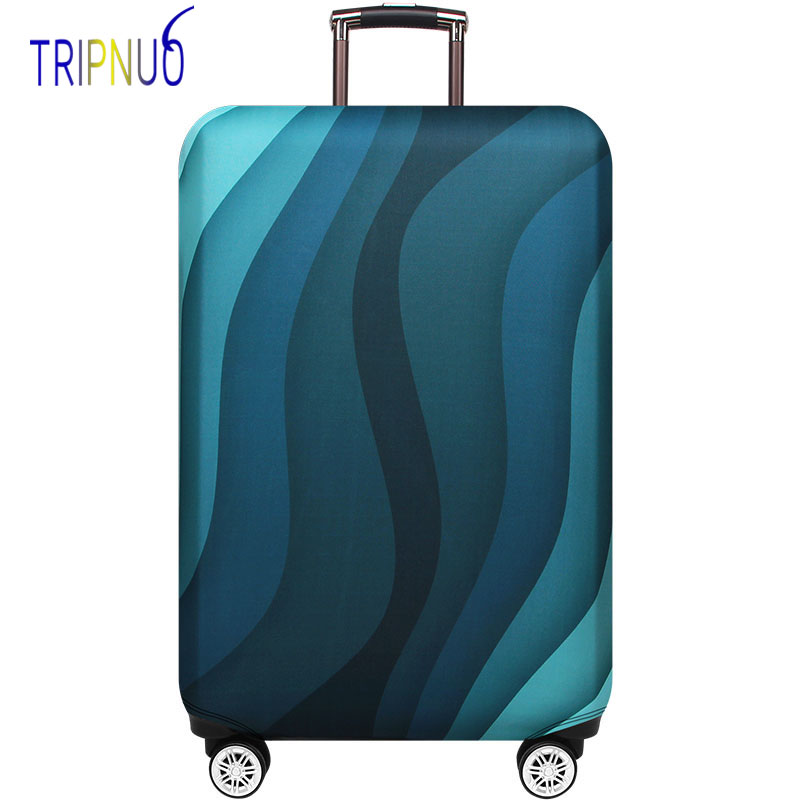 TRIPNUO Green Ripple Trolley Case Suitcase Dust Cover Travel Accessories Elastic Fabric Luggage Protective Cover Suitable18-32